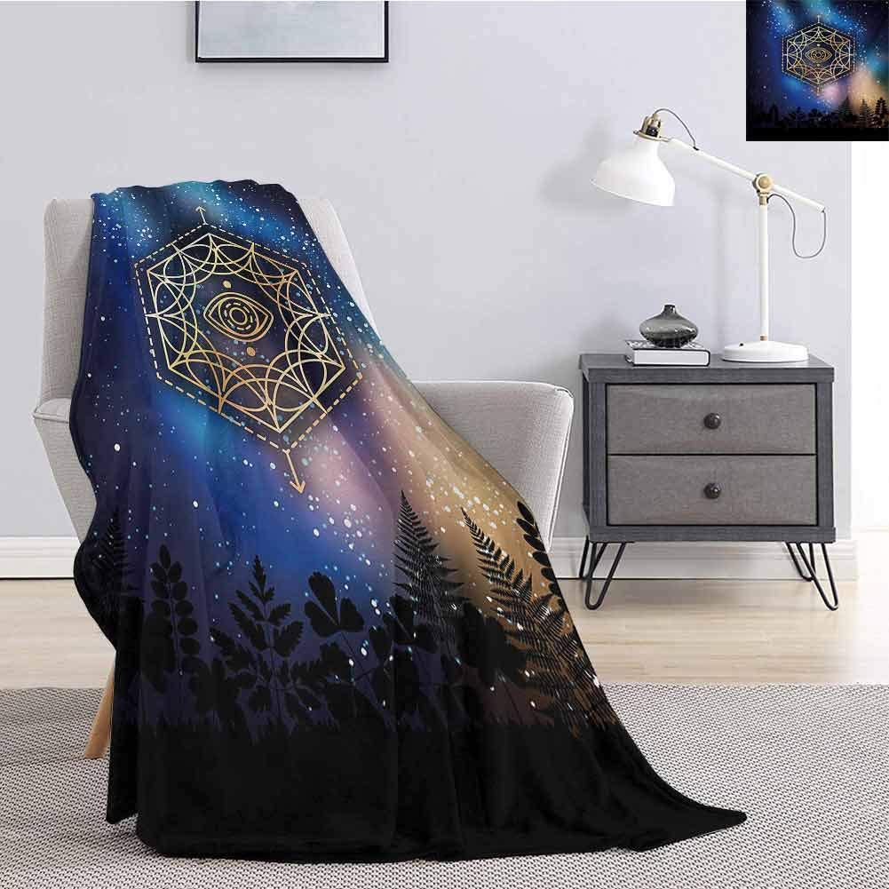Luoiaax Sacred Geometry Bedding Flannel Blanket Hexagon Form with The Eye Icon in The Centre on Starry Night Mystic Image Super Soft and Comfortable Luxury Bed Blanket W57 x L74 Inch Multicolor