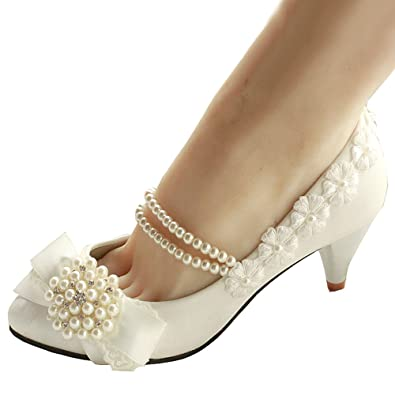 Getmorebeauty Womens Pearls Lace Weave Flower Kitten Heel Wedding Shoes 5 BM US