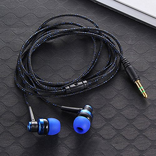 Semoic H-168 3.5mm in-Ear Braided Wired subwoofer earplug Insulated Sports Music Headphones(Blue) by Semoic (Image #2)