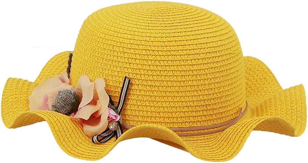 Surkat Girls Lovely Flower Straw Hat Beachwear Sunhat Wavy Floral Tea Party Cap