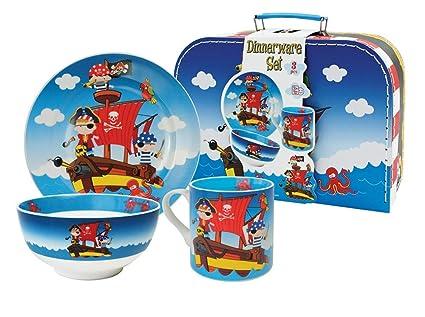 """Set de Vajilla Infantil Decorativa de Porcelana"""" Piratas"""". Vajillas y Cuberterías. Regalos"""