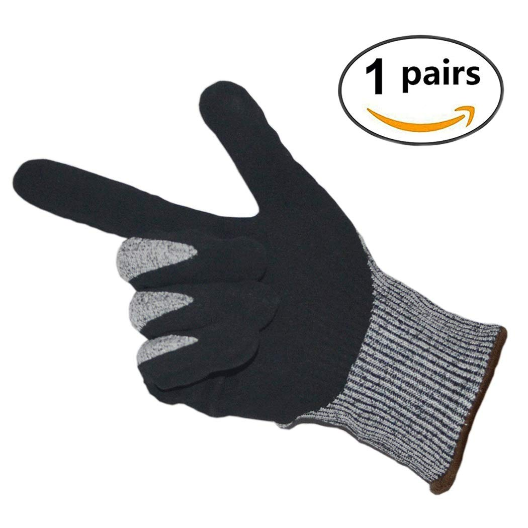 Cut-proof Gloves 5 Grade Dipped Gloves Kitchen Anti-blade Puncture Cut-resistant Anti-slip HPPE Gloves Can Be Washed (1 Pair) (Color : White ash, Size : XL (26CM))