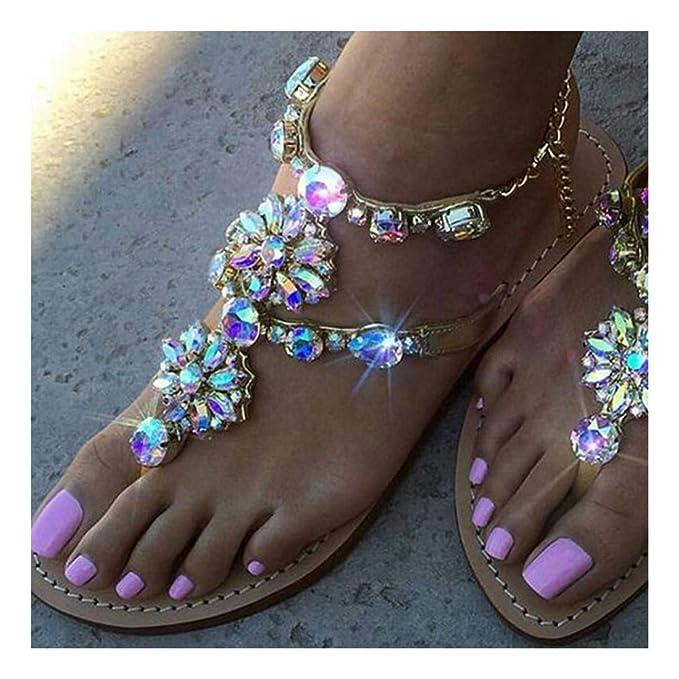 Rhinestone *SALE*Crystal Flower FlipFlop Beach Sandal Gladiator Sz 37,4 Wedge ❤️