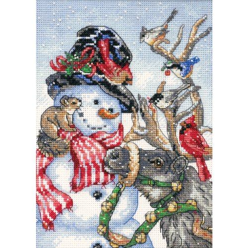 Dimensions Gold Collection Counted Cross Stitch Kit, Snowman and Reindeer, 18 Count White Aida, 5'' x 7''