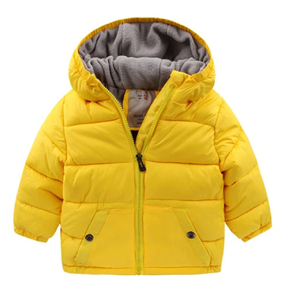 LOVEBEAUTY Boys' Heavyweight Hooded Winter Warm Puffer Coat Jacket U4490-4-Yellow