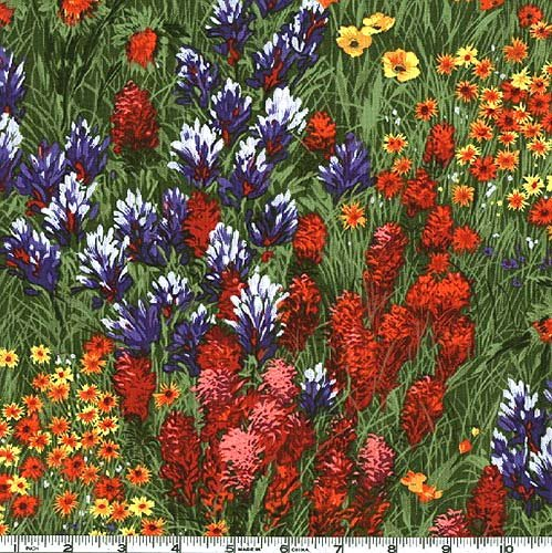 Michael Miller Southwest Texas Wildflowers Fabric by The Yard, Grass