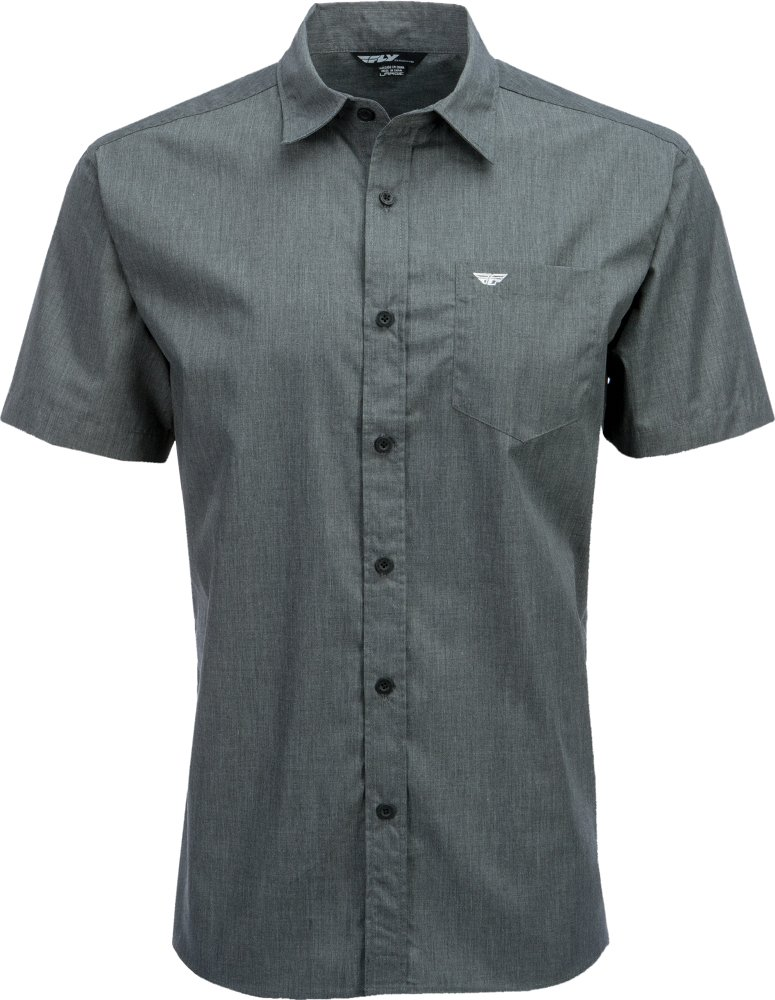 Fly Racing Unisex-Adult Button Up Shirt Dark Grey, XXX-Large