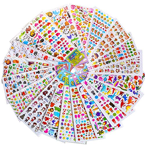 RENOOK Stickers for Kids 1500+, 20 Different Sheets, 3D Puffy Stickers, Scrapbooking, Bullet Journals, Stickers for Adult, Including Animals, and More,Christmas Stickers for Kids.