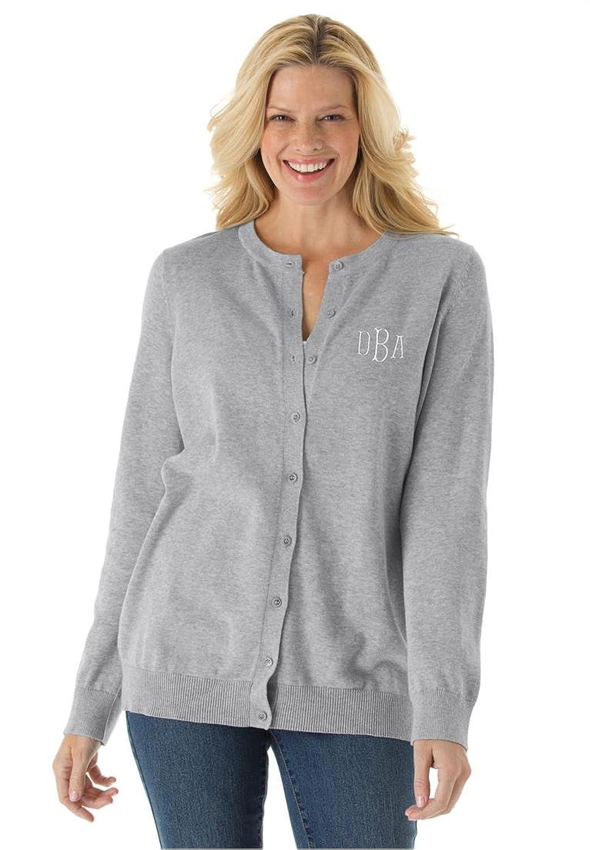 Women's Plus Size Monogrammed Classic Cardigan Sweater Heather Grey,4X