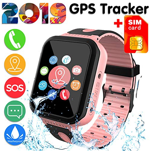 [SIM Card Included]Kids Smart Watch Phone for Girls Boys - IP68 Waterproof GPS Tracker Locator Touch Games SOS Outdoor Digital Wrist Cellphone Watch Bracelet for Holiday Birthday Gifts (Pink)