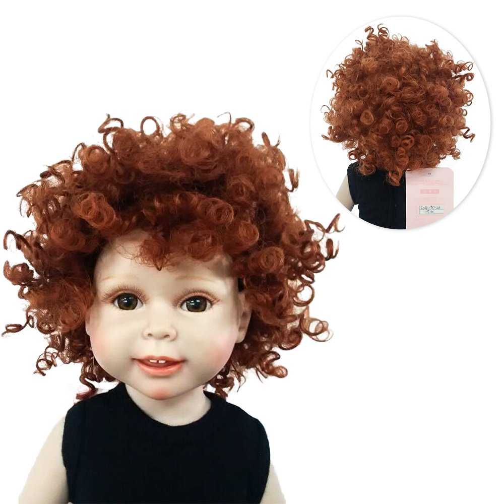 Wigs Only! Heat Resistant Afro Tiny Curls Finished Wigs for 18'' Height American Girl Doll with 10-11inch Head