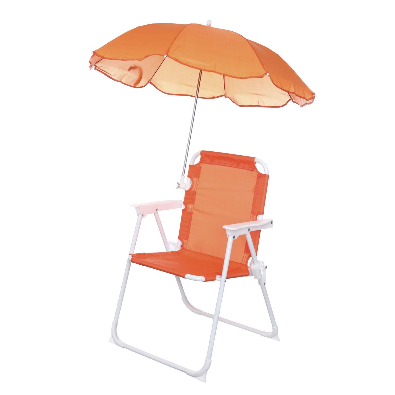 in metallo e textilene Sedia pieghevole bimbo con ombrello
