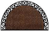 "GrassWorx 10374071 Wrought Iron Half Moon Plant Life Doormat, 24"" x 36"""