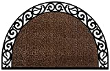 Grassworx Clean Machine Wrought Iron Half Moon Plant Life Doormat, 24'' x 36'', Coffee Bean (10374072)