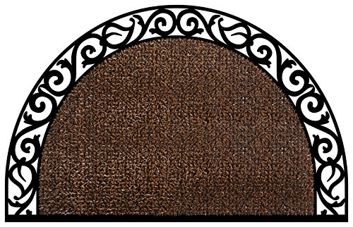 GrassWorx Clean Machine Wrought Iron Half Moon Plant Life Doormat, 24