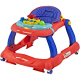 Dream On Me Spirit Activity Walker and Walk Behind in Coral And Blue