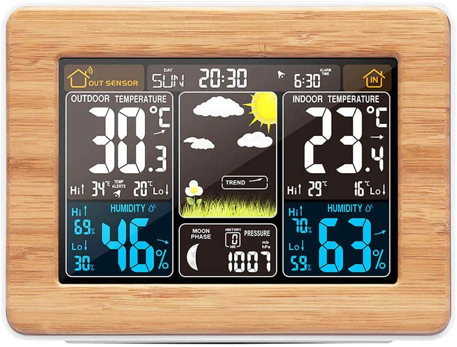 SALANGAE Home Weather Stations Wireless Indoor Outdoor, Color Weather Forecast Station, Digital Wireless Weather Station Thermometer,Barometer,Temperature and Humidity Monitor Alerts- Yellow