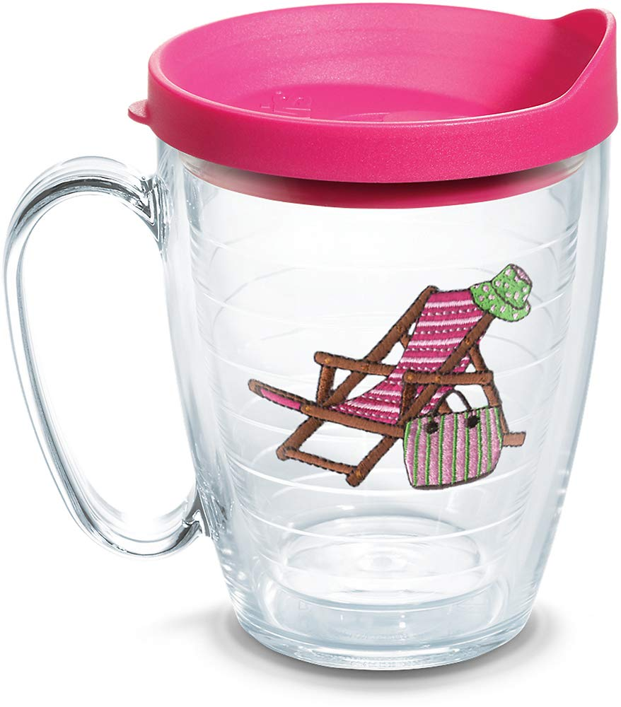 Tervis 1302220 Beach Chair Pink Insulated Tumbler with Emblem and Lid 16 oz Clear