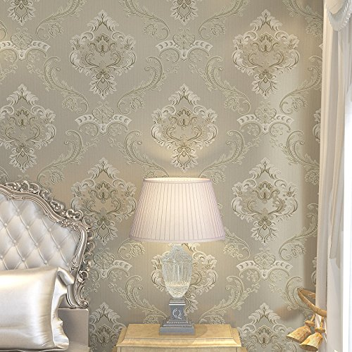Mddw Continental Carved 4d Non Woven Wallpaper Luxury Green