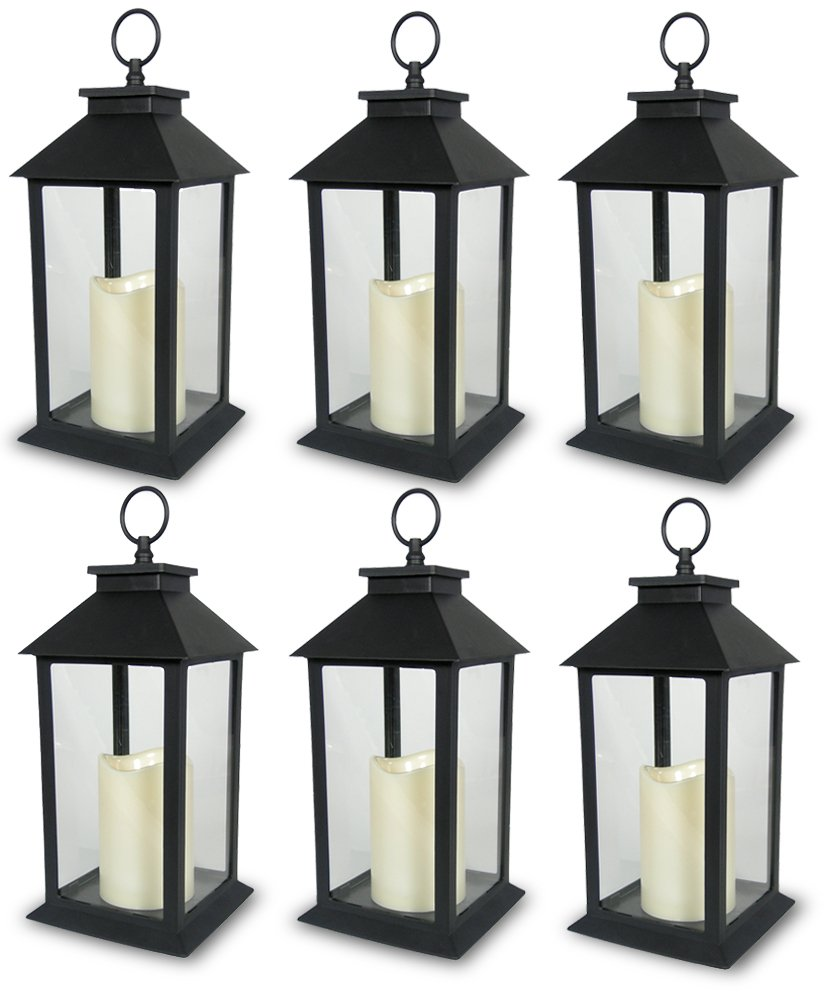 BANBERRY DESIGNS Decorative Black Lantern - LED Flickering Flameless Pillar Candle with 5 Hour Timer Included - Indoor/Outdoor Lantern - 13'' - Pack of 6