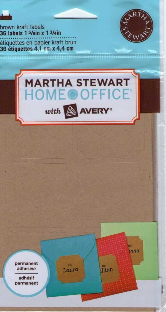 "Martha Stewart Home Office with Avery Brown Kraft Labels Classic, 1-5/8"" x 1-3/4"", 36/Pack"
