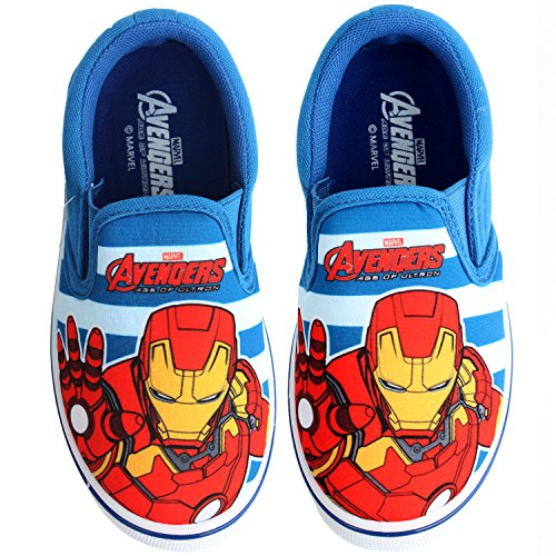 Joah Store Boys Avengers Iron Man Slip-on Canvas Easy Sneakers Blue White Stripes Anti Slip Shoes (13 M US Little Kid, Iron Man)