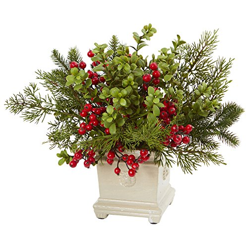- Nearly Natural Holiday Berry and Pine Artificial Arrangement, Green