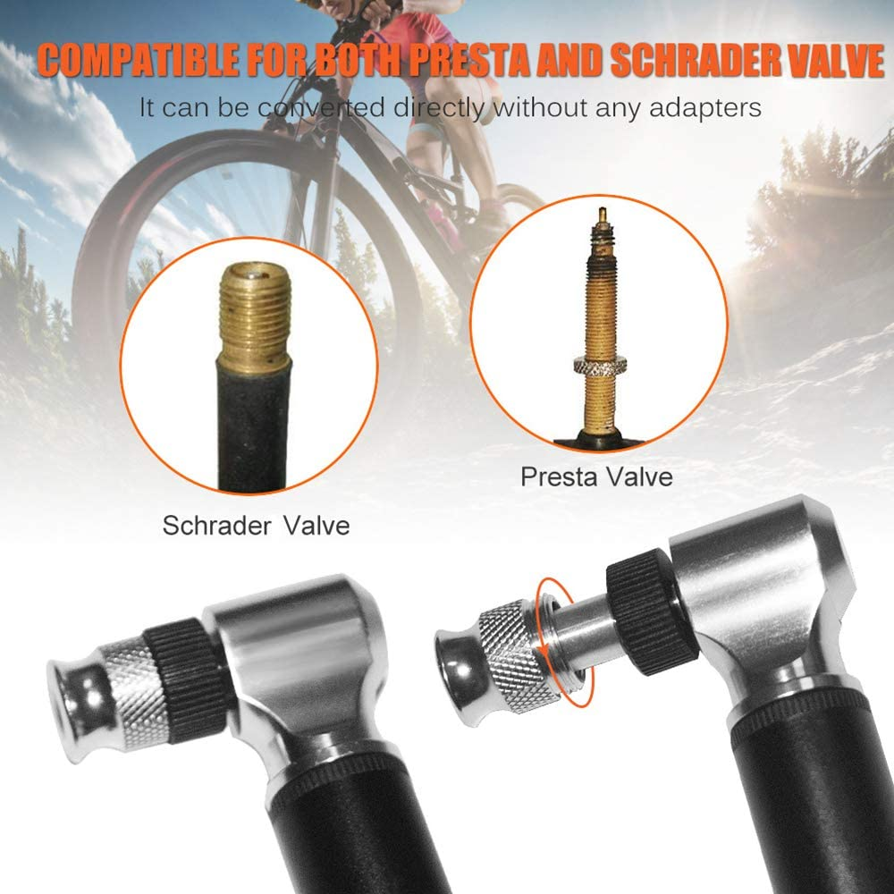 Includes Mount Kit mafffoliverr Mini Bike Hand Pump 300 PSI Mini Bicycle Tyre Pump for Road Accurate Fast Inflation Frame Fits Presta and Schrader Mountain Bikes