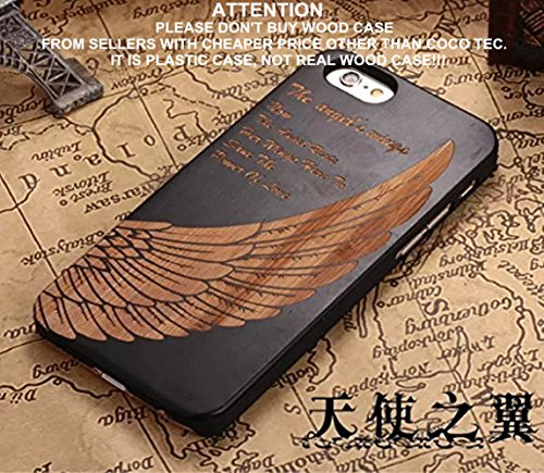 iPhone 6s plus Case,CoCo Laser Carving Marked Wood Case wooden Case Cover with Durable Polycarbonate Bumper Slim Covering Case for Apple iPhone 6s plus iPhone 6 plus(5.5 inch) (Angel's Wings-black)
