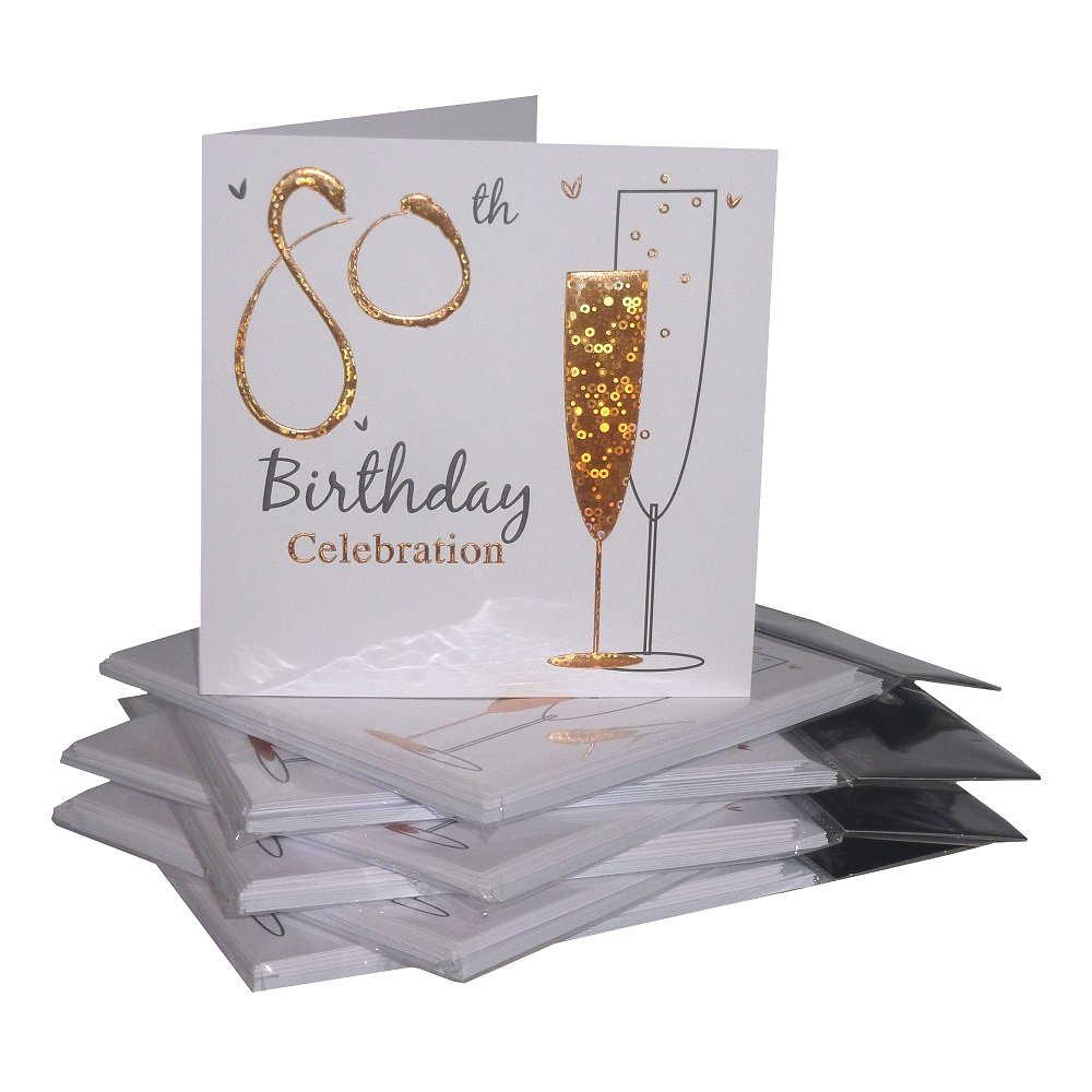 Invitation card amazon multipack gold champagne glass 80th birthday party invitation cards 36 cards with envelopes stopboris Choice Image