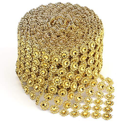 (Foraineam 10 Yards / 30 Feet Golden Diamond Ribbon Wrap Faux Rhinestone Crystal Ribbon Flower Shape Mesh Wrap Roll for Event Party Wedding Decoration )