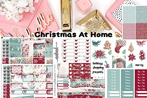 Christmas At Home, Planner Sticker Kit 7 sheets on matte. Erin Condren Life Planner or Happy Planner Create 365 sizes available. Kiss cut, just peel and stick.