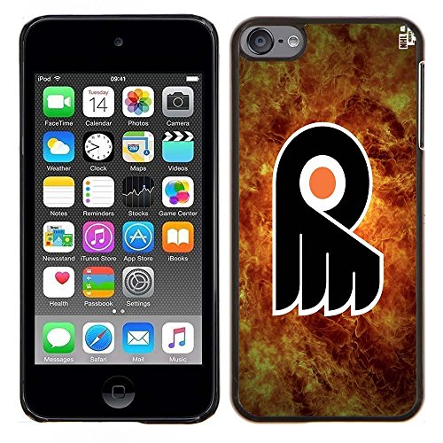 iPod Touch 5 Case, iPod Touch 6 Cases, Philly Flyers Hockey Team logo 26 Drop Protection Never Fade Anti Slip Scratchproof Black Hard Plastic Case