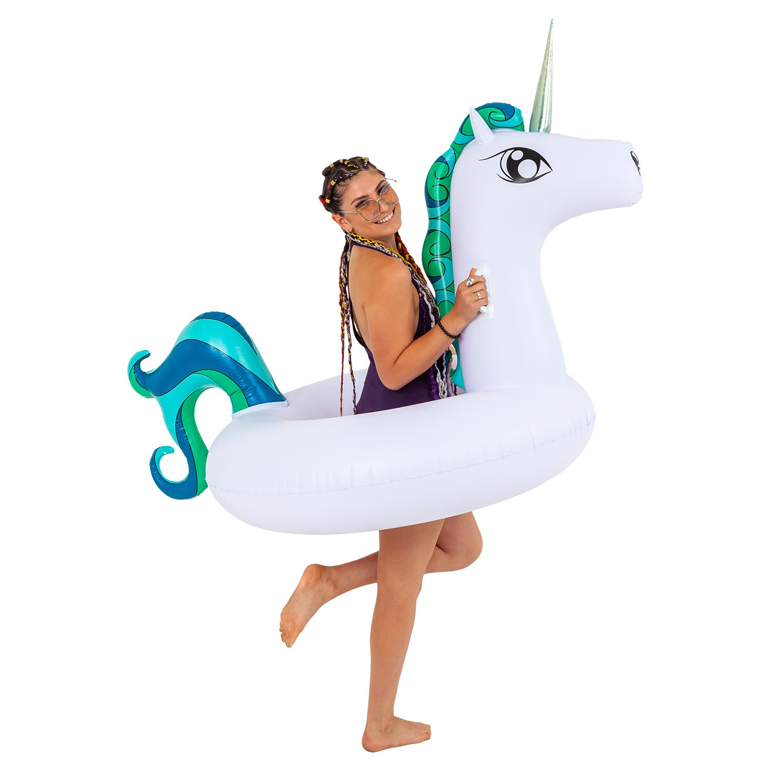Sundaze Floats Giant 6 Foot Inflatable Tropical Unicorn Pool Ring Tube Float - Fun Kids Swim Party Toy - Summer Lounge Raft