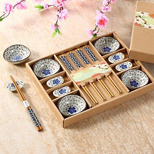Japanese Tableware (Saflyse Creative Gift Hand-painted Ceramic Tableware Japanese Hand-painted Nabi + Chopsticks Gift 4-piece set)