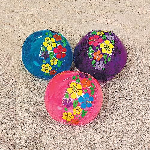 Fun Express - Hibiscus Print Beach Balls - Toys - Inflates - Beach Balls - 12 Pieces