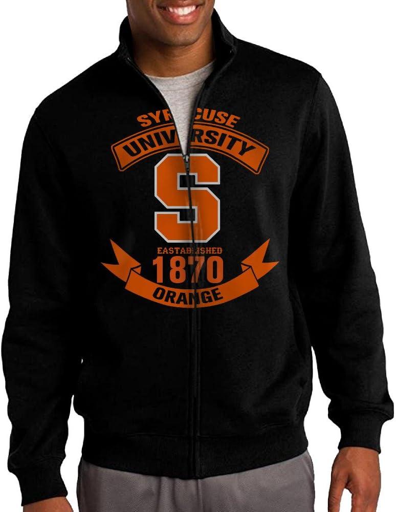 Simoon Syracuse Universidad fútbol Hombres de Cuello de Soporte Cremallera Chaqueta