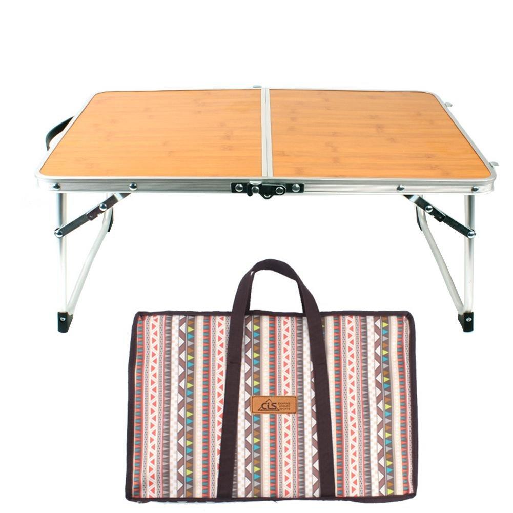 Mini Outdoor Faltbarer Laptop Portable Mini Picknicktisch /& Ultra Leichte Falten Speicherplatz Bambus Holzmaserung Grilltisch,1X Klapptisch im Freien+1X Aufbewahrungstasche
