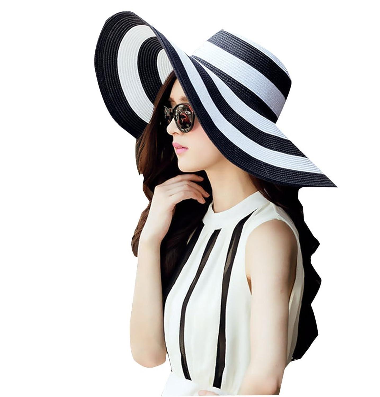 Qingsun Chapeau Fedora Panama en paille Filles Plage De La Mode Anti-Uv Pliables Rayures Noires et Blanches Larges Bords Protection Solaire Chapeau de Soleil