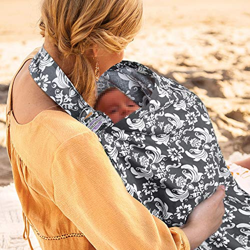 Through Breast - UHINOOS Nursing Cover, Infinity Soft Breastfeeding Cotton for Babies with no See Through Cotton for Mother Nursing Apron for Breastfeeding (Grey)