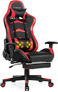 Goplus Massage Gaming Chair, Reclining Backrest, Handrails and Seat Height Adjustment Racing Computer Office Chair, High Back Ergonomic PU Leather Swivel PC Game Chair with Footrest (Red)