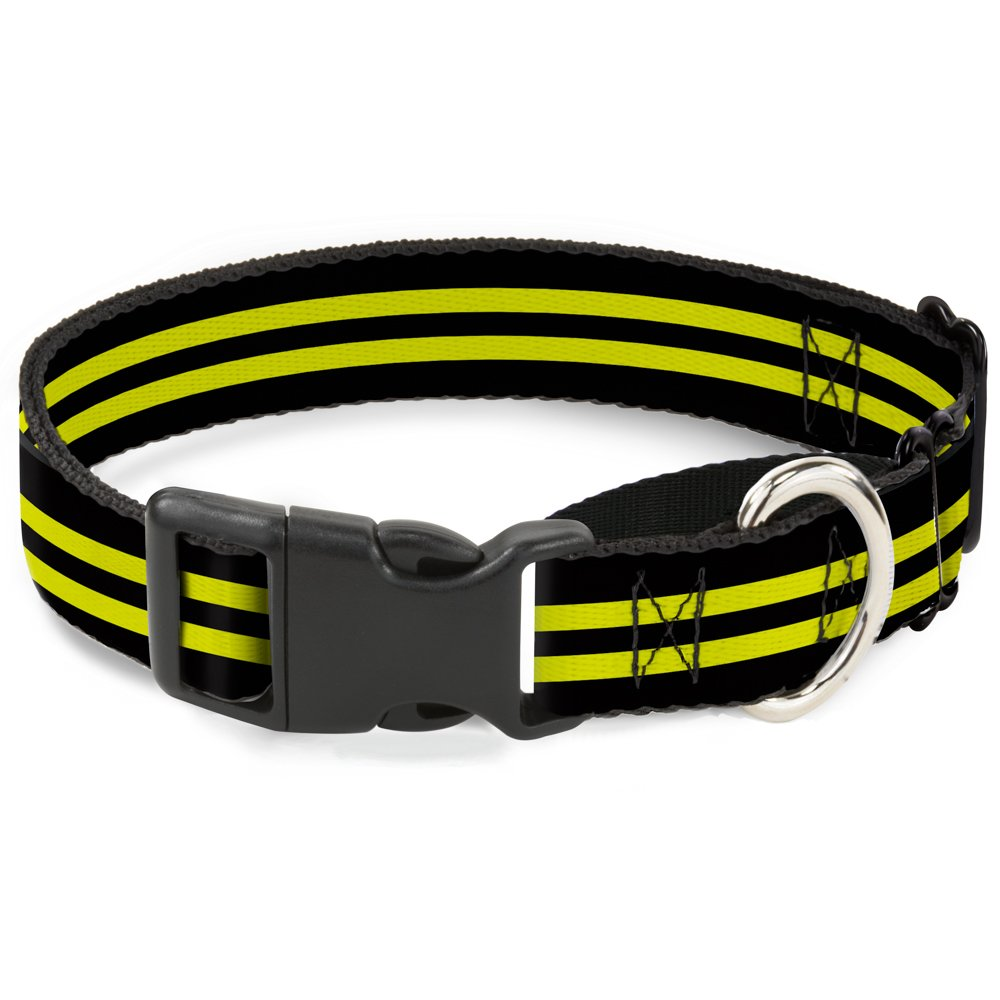 Buckle Down Stripe Black/Yellow Martingale Dog Collar, 1.5'' Wide-Fits 16-23'' Neck-Medium