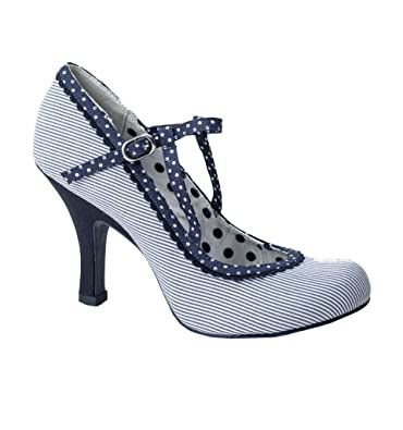 bcf7d24fc59345 Ruby Shoo Jessica Blue Stripe Navy Polka Dot High Heel Shoes, UK 7 / EU