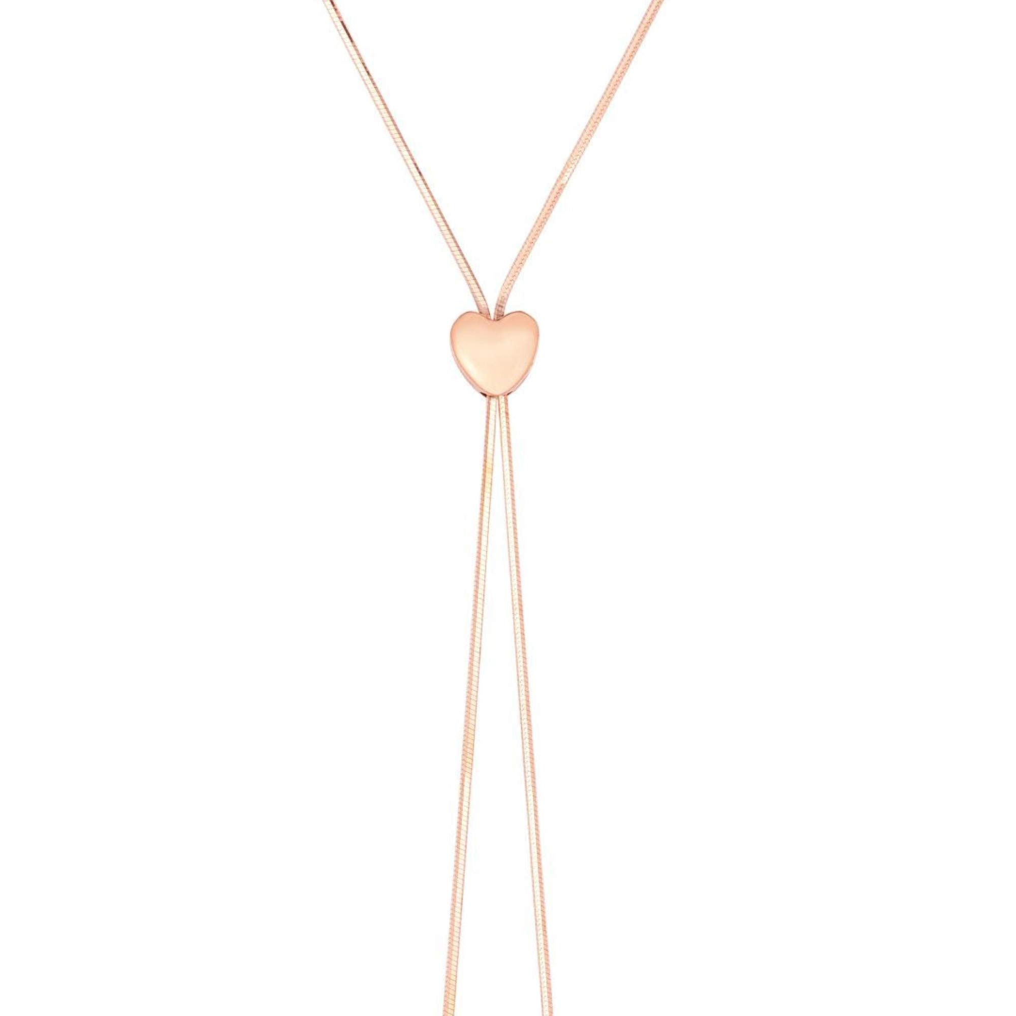 BH 5 Star Jewelry 14kt 24'' Rose Gold Heart Necklace with Draw String Clasp