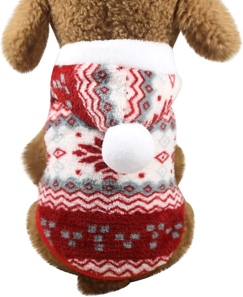 Fossrn Disfraz Navidad Ropa Perro Pequeño Invierno Franela Sudadera con Capucha Abrigo Jersey para Mascota Chihuahua Yorkshire Cachorro