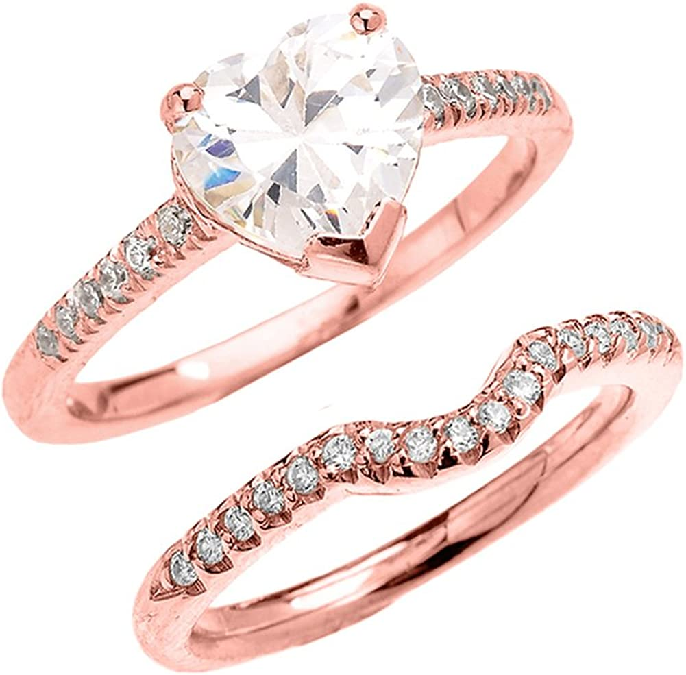 10k Rose Gold Dainty 2 Carat Cubic Zirconia Wedding Eternity Band Ring
