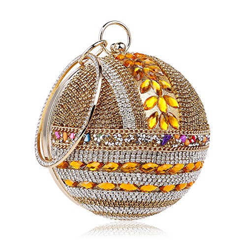 Purse Handbag Round for Clutch Banquet Party Rhinestone Wedding Evening Woman Gold Ball Handbag Bag 6Zw00q