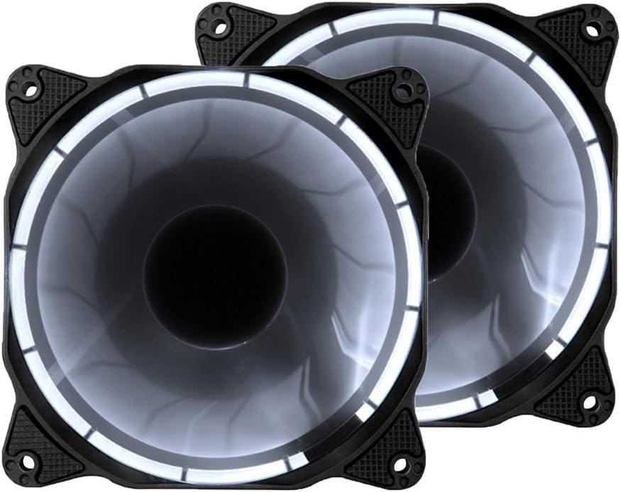 EZDIY-FAB 120mm Ventilador Silencioso LED de 3 Clavijas para PC,Refrigerador de la Caja,Caja de la Computadora Ventilador de Enfriamiento Ultra,2 Pack-Blanco