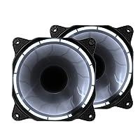 Easydiy 120 mm LED Silent Fan per PC Case Cooler e Radiatori Quiet Massimo flusso d'aria Computer Case Fan Pack di 2 - Bianco