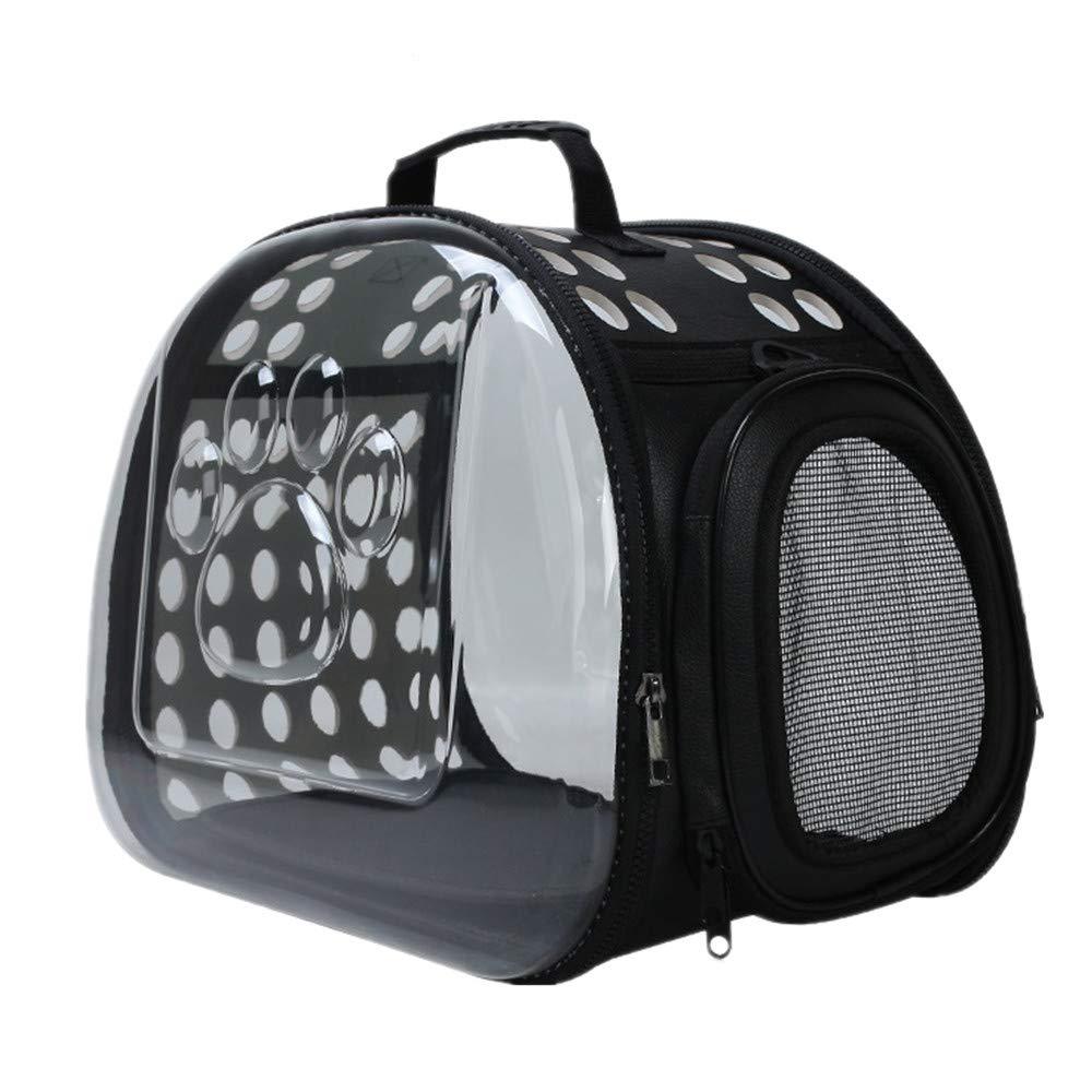 FZQ Pet Travel Bag, Transparent Foldable Diagonal Dog Bag, Detachable Shoulder Strap, Eva Material, Three Sides Breathable, Scratch Resistant, Easy to Use